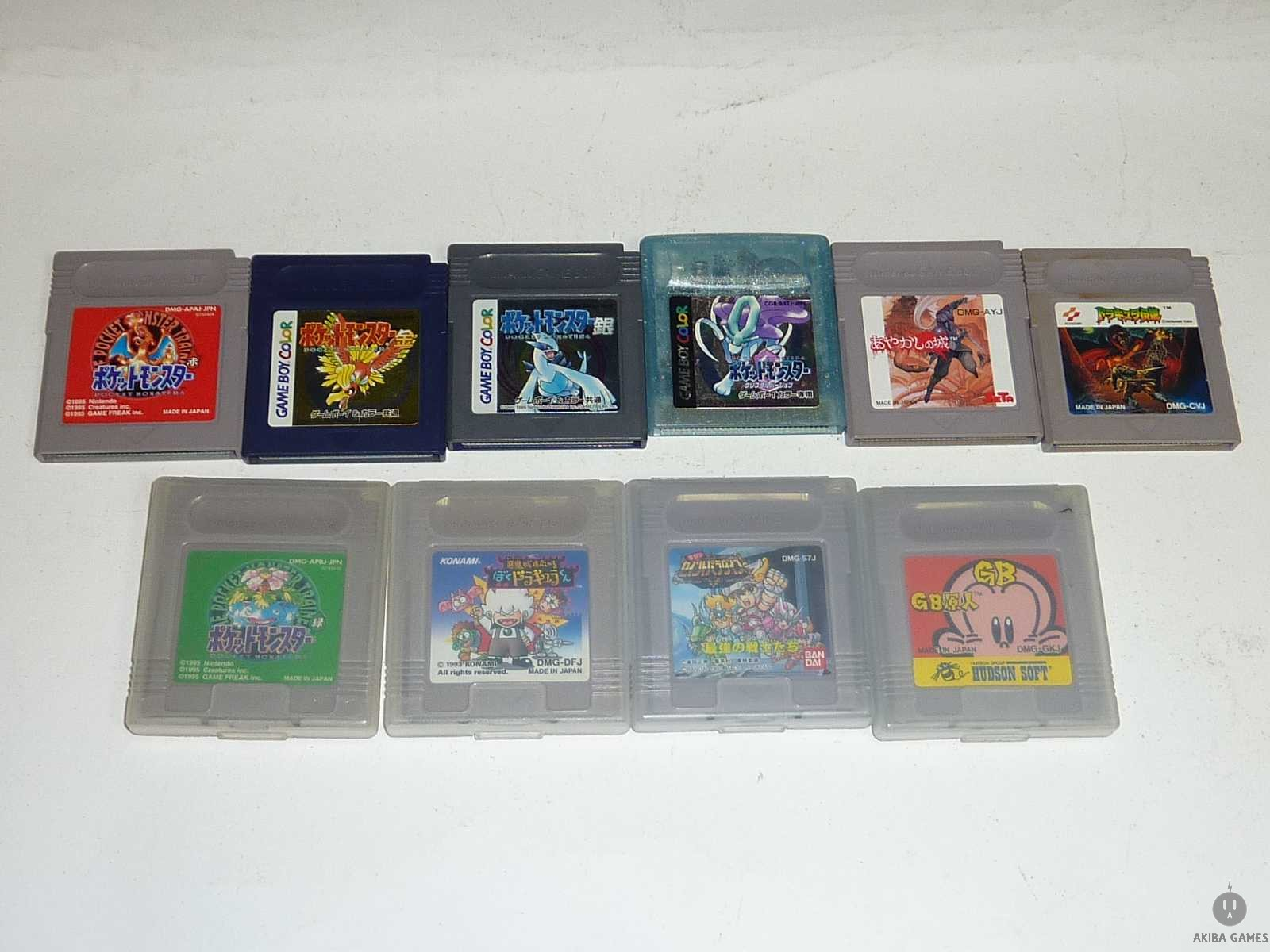 [GB] Pocket Monsters Red+Green+Silver+Gold+Crystal...etc 10 Games Set (loose)