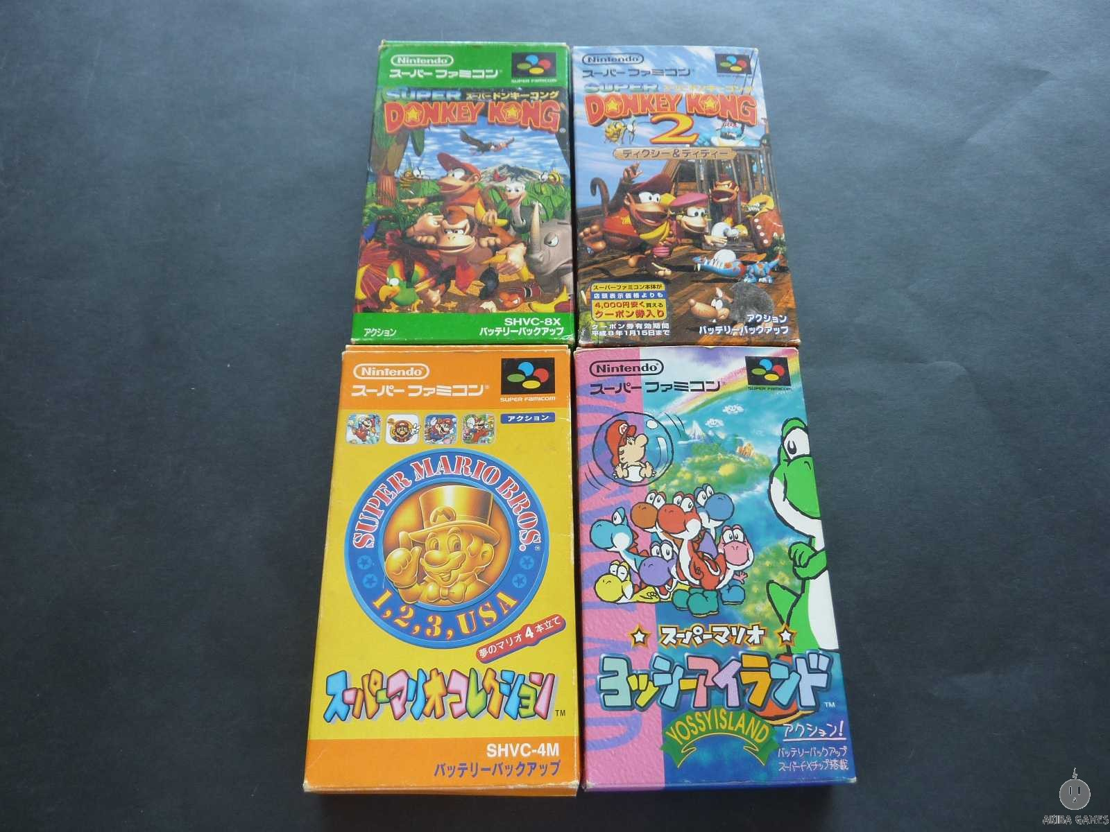 [SFC] Super Donkey Kong,Super Donkey Kong 2 : Dixie & Diddy set of 4 games