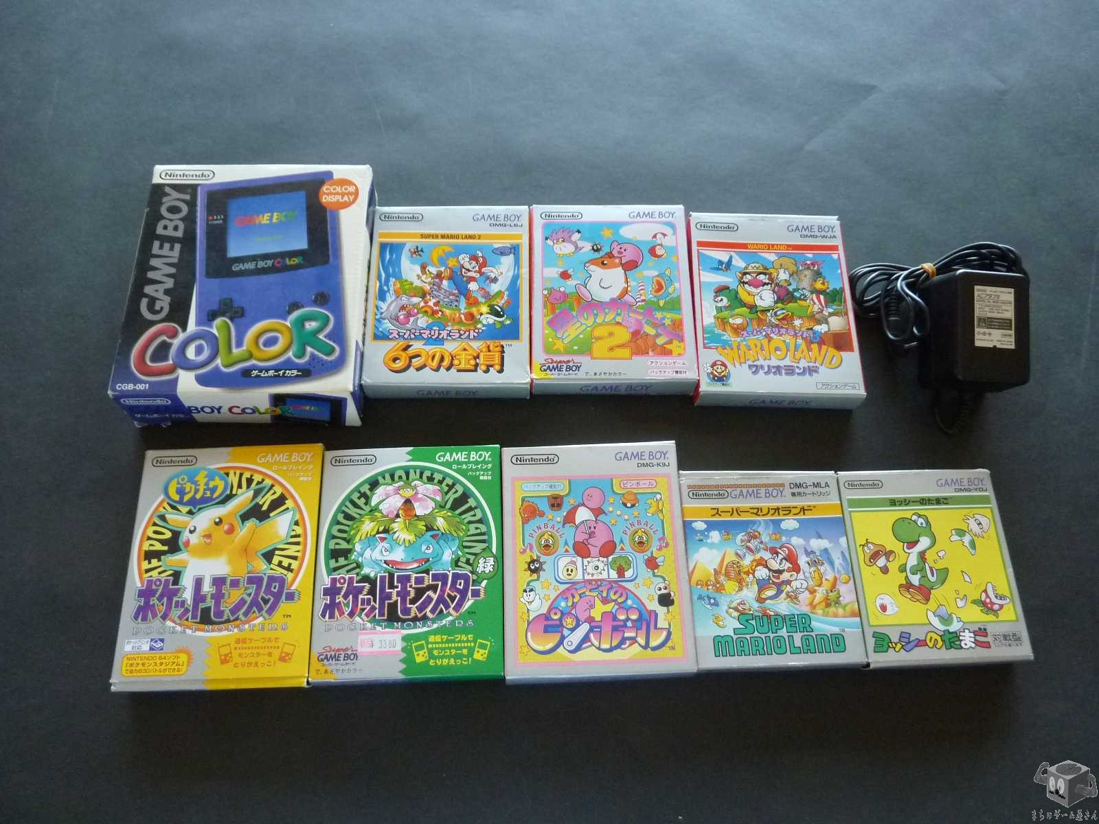 [GB] Console Nintendo Game Boy Color Purple CGB-001 System+ adapter+ 8Games Set